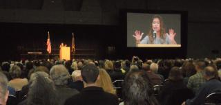 Michelle Malkin passionatley addresses the Freedom Rally crowd.